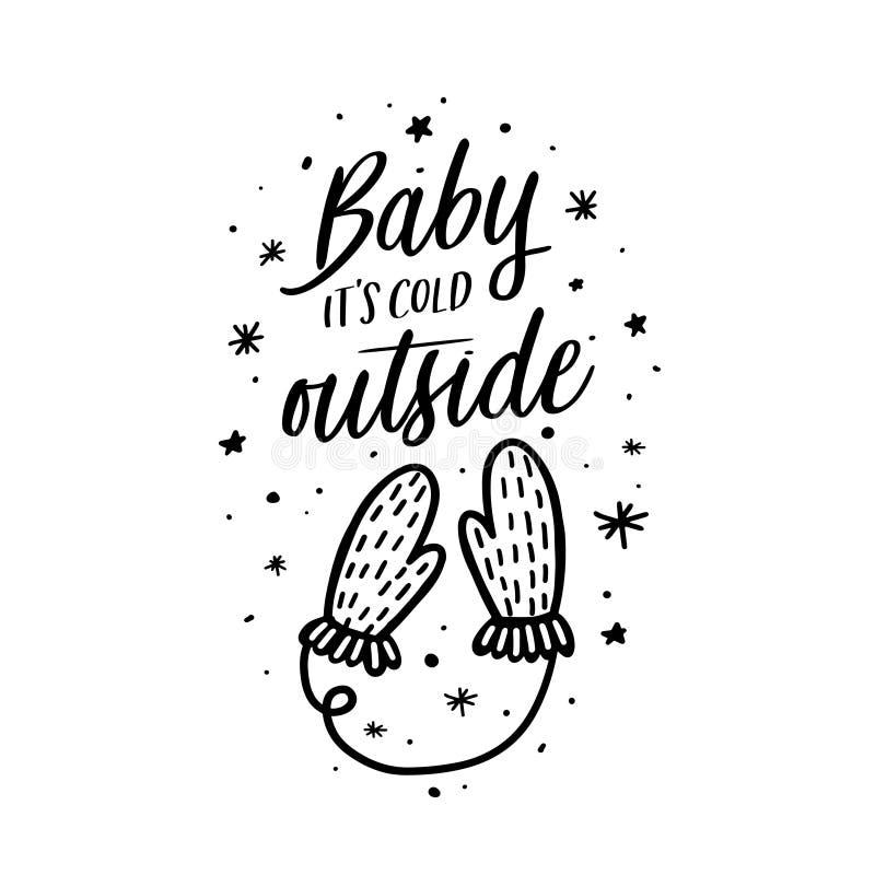 Bebé su tipografía de la Navidad del exterior del frío Ilustración del vector ilustración del vector