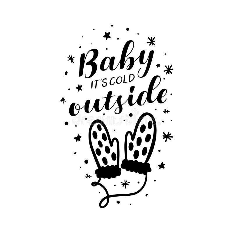 Bebé su tipografía de la Navidad del exterior del frío Ilustración del vector libre illustration