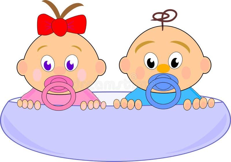 Bebé (Thumbelina) con el arqueamiento y el muchacho rojos ilustración del vector