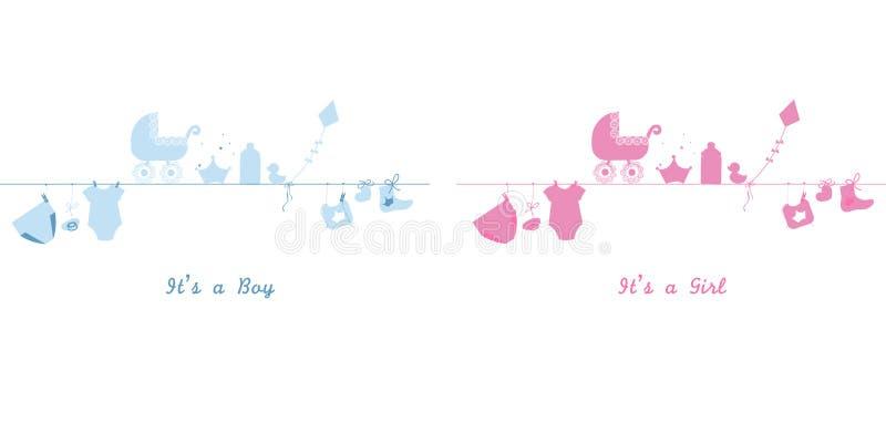 Bebé y bebé Símbolos del bebé de la ejecución Bebé gemelo Ejemplo del vector de la tarjeta de felicitación de la fiesta de bienve stock de ilustración