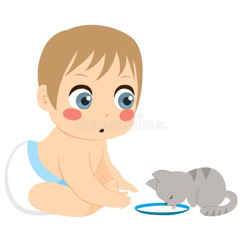 Bebé y Cat Milk ilustración del vector