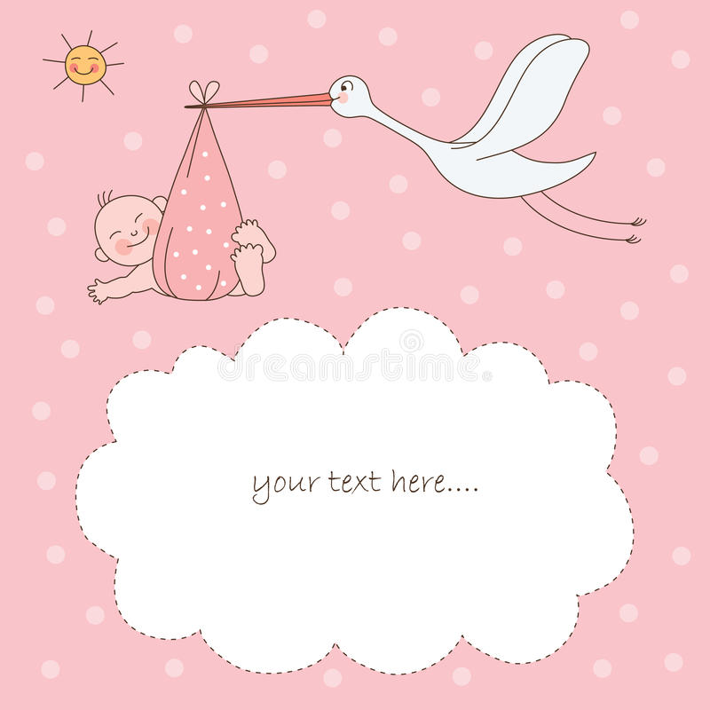Bebé y cigüeña stock de ilustración