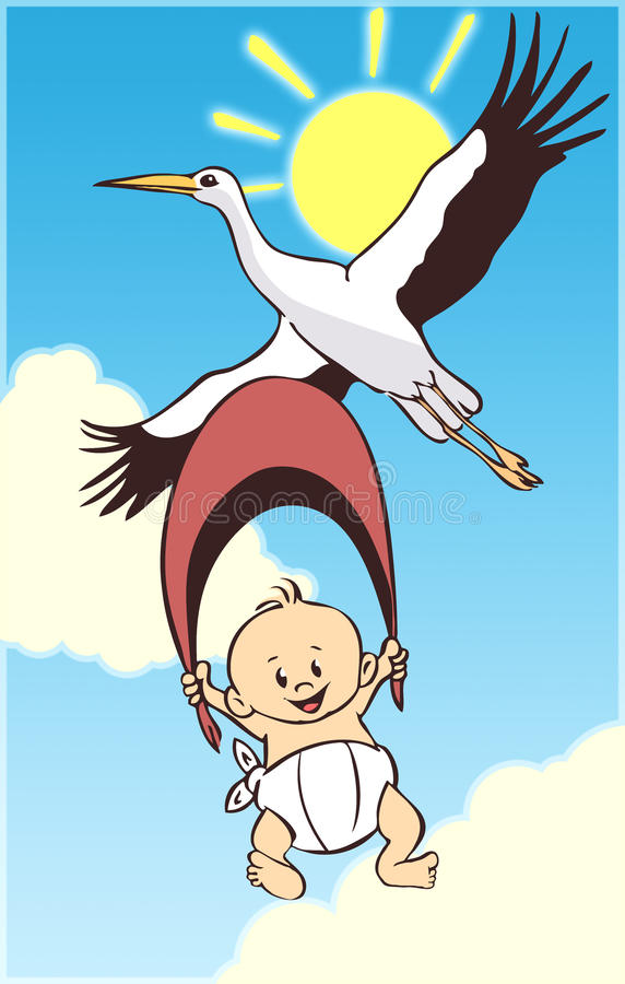Bebé y cigüeña de la historieta stock de ilustración