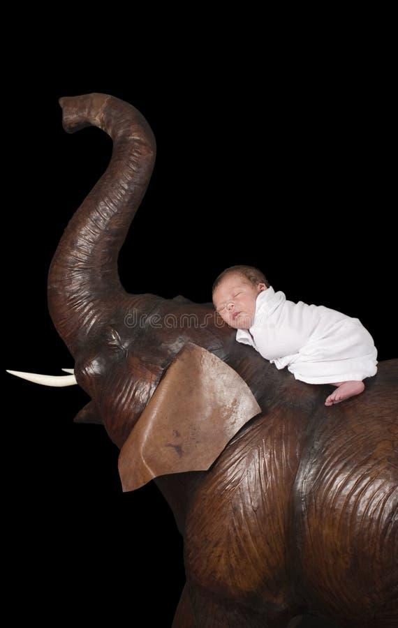 Bebé y elefante foto de archivo