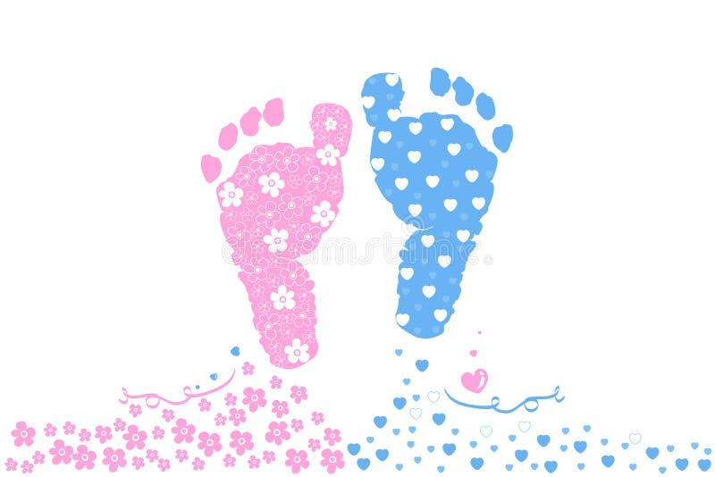 Bebé y muchacha gemelos Impresiones del pie del bebé Vector de la tarjeta de felicitación de la llegada del bebé ilustración del vector