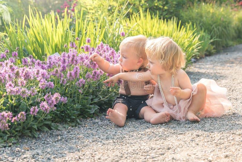Bebé y muchacho que se sientan en un jardín hermoso y que señalan a la flor púrpura imagen de archivo