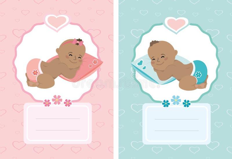 Bebé y muchacho recién nacidos, tarjeta de la historieta, stock de ilustración