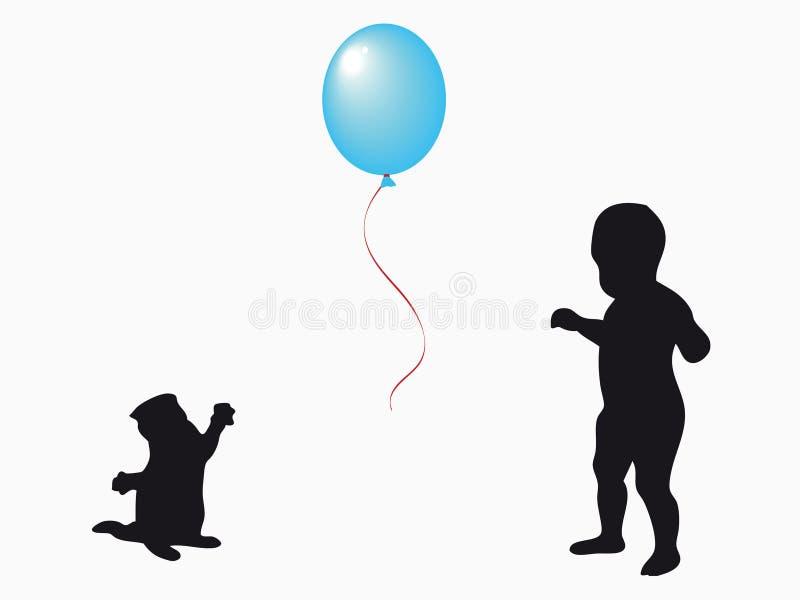 Bebé y pequeño gato stock de ilustración