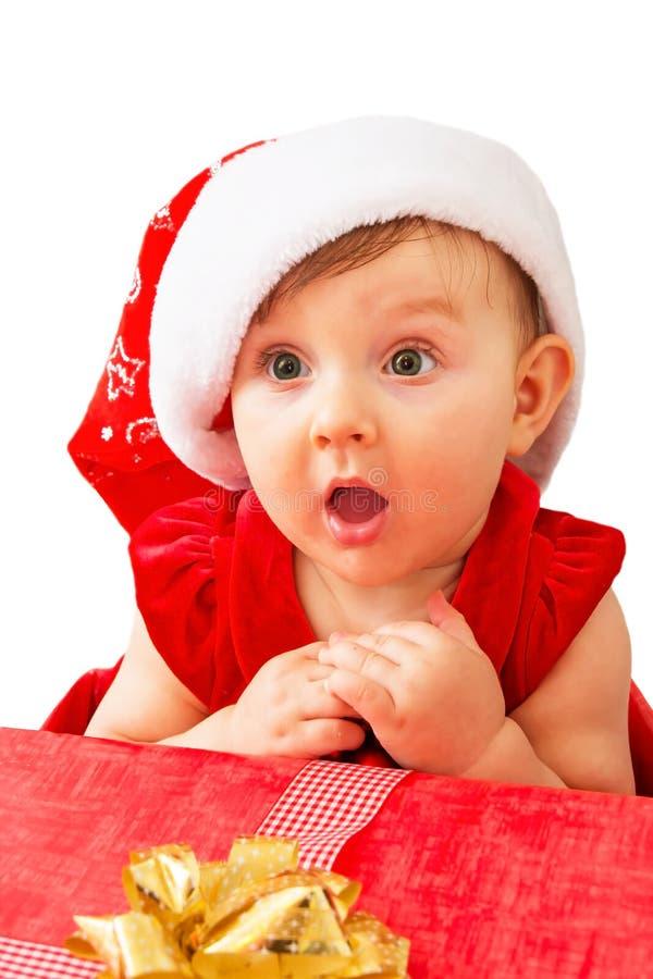 Bebé y presente de la Navidad fotografía de archivo libre de regalías