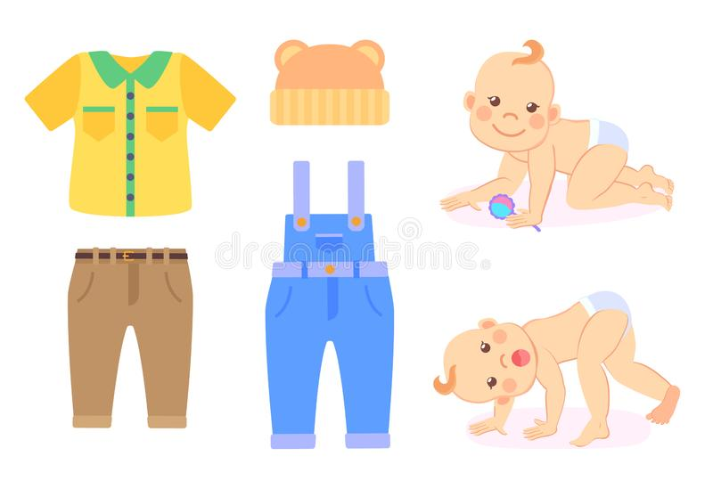 Bebé y ropa a llevar, niño en el pañal aislado stock de ilustración