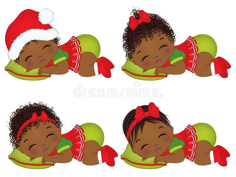 Bebés afroamericanos lindos del vector que llevan la ropa de la Navidad ilustración del vector