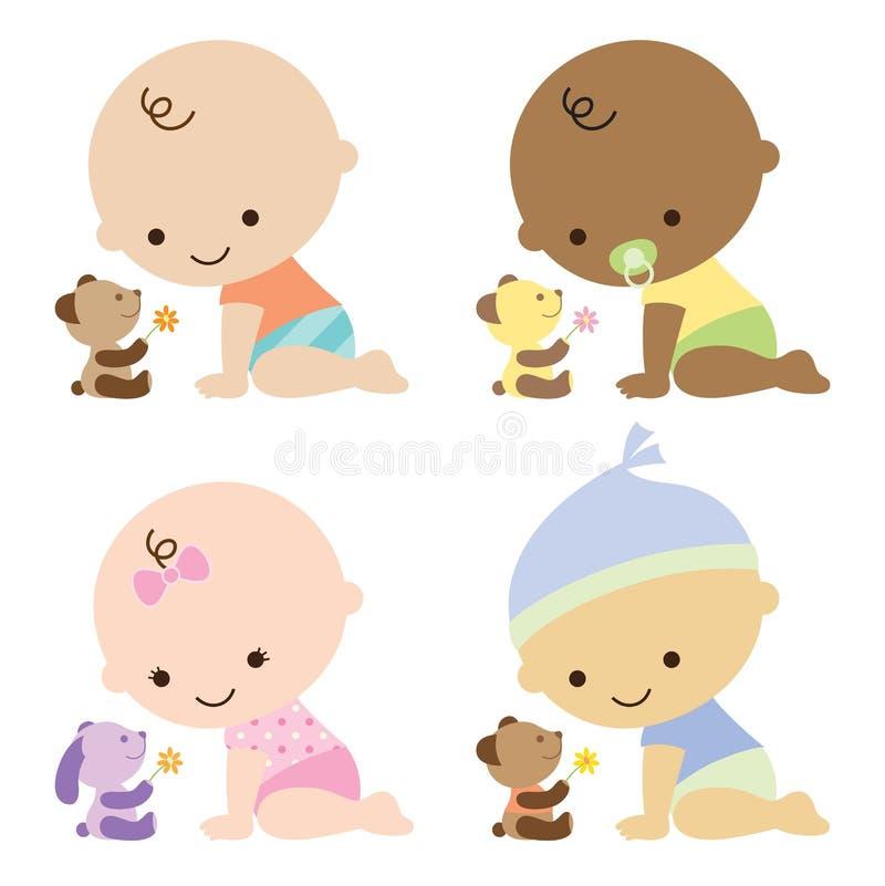 Bebés con los osos del peluche libre illustration