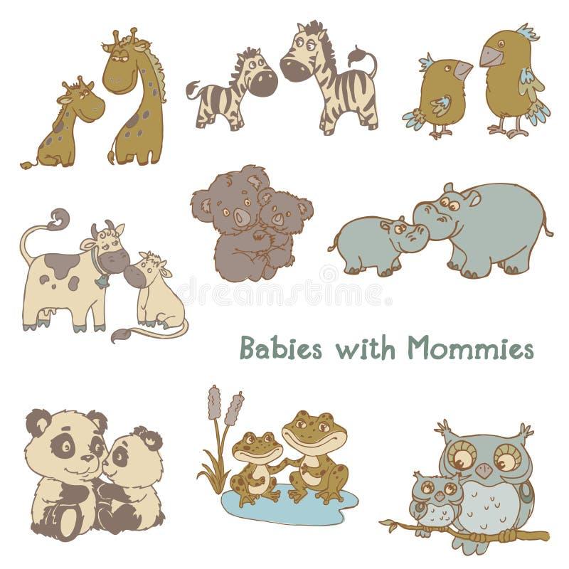 Bebés con sus mamas stock de ilustración