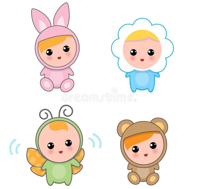 Bebés de los trajes animales ilustración del vector