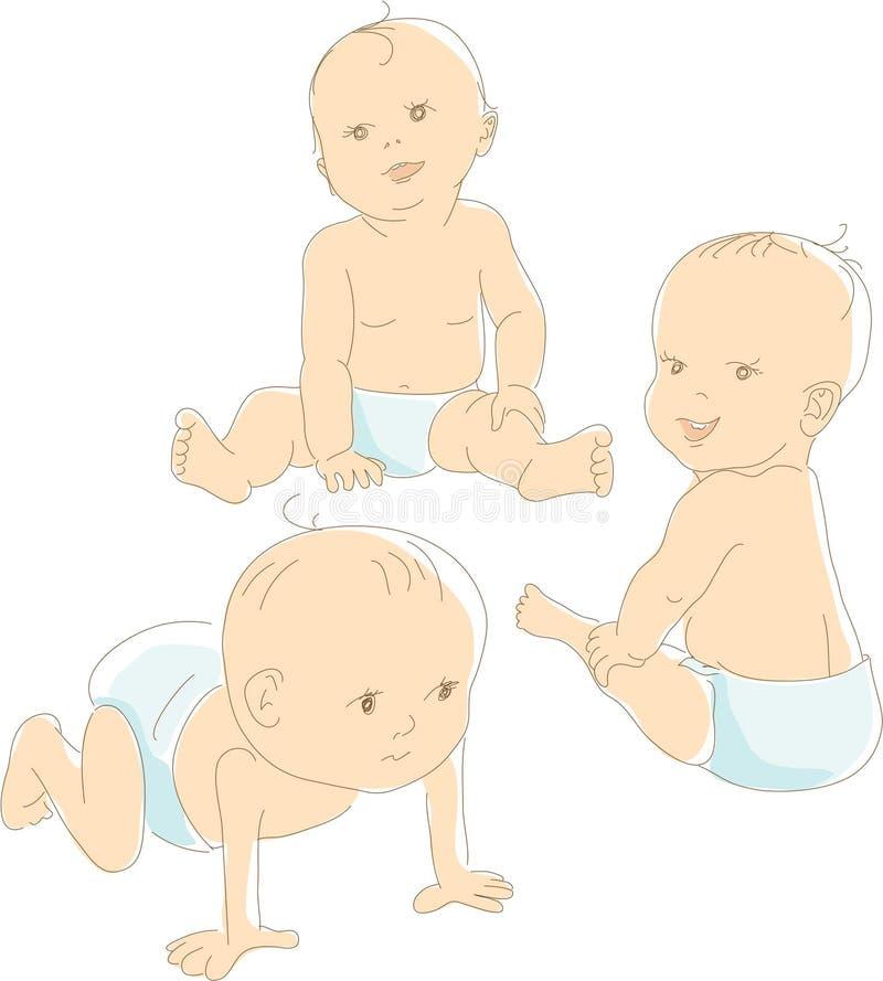 Bebés divertidos en los pañales, vector libre illustration