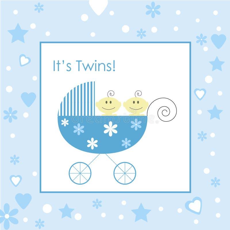 Bebés gemelos en cochecillo libre illustration