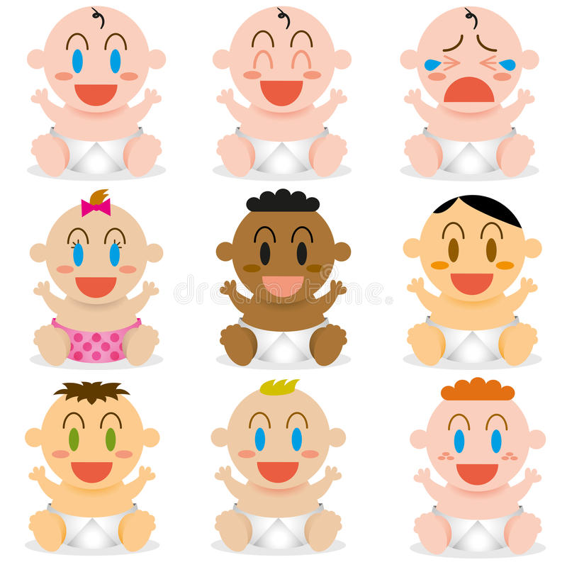 Bebés lindos de una historieta del vector diversos fijados stock de ilustración