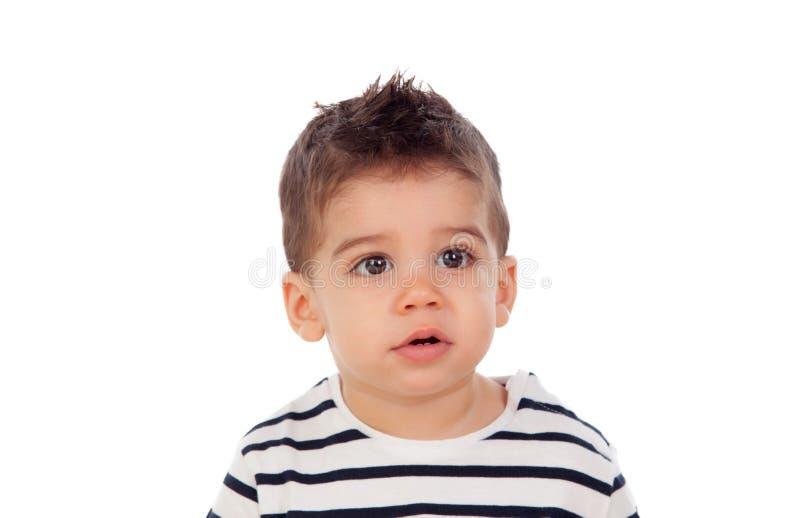 Bebê adorável nove meses fotografia de stock