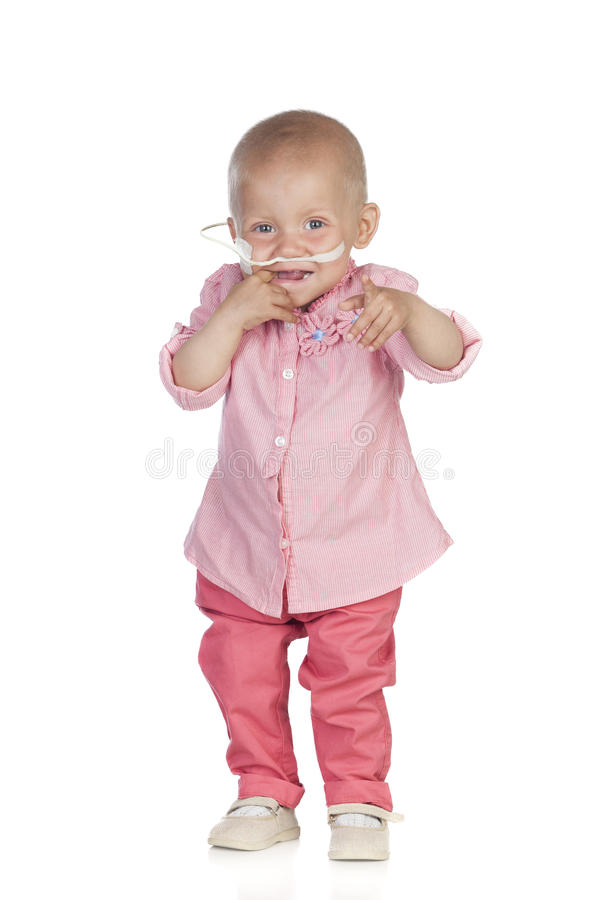 Bebê adorável que bate a doença foto de stock royalty free