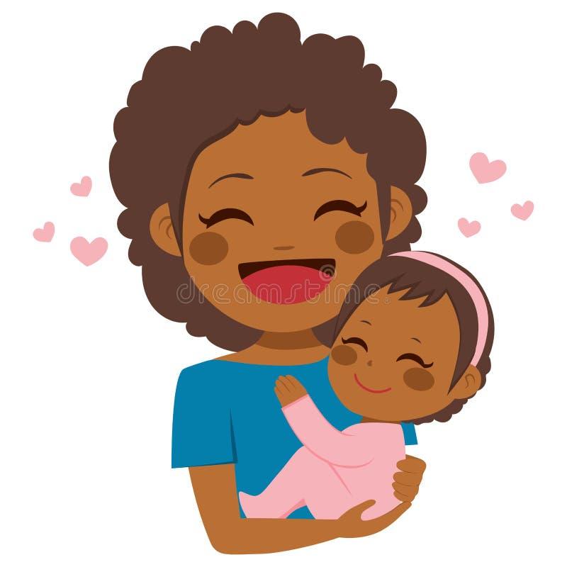 Bebê afro-americano bonito da mãe ilustração stock