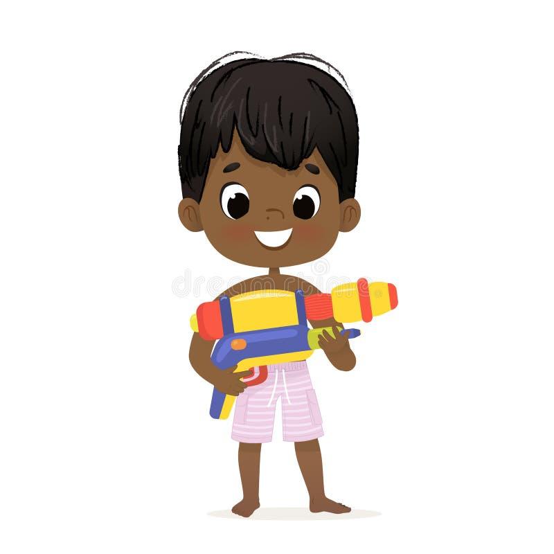 Bebê afro-americano bonito de sorriso com Toy Water Gun Posing Caráter da festa na piscina com um Toygun Pele escura da praia ilustração royalty free