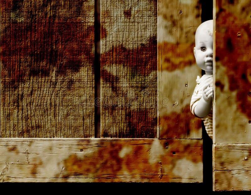 Bebê assustador - boneca fotos de stock