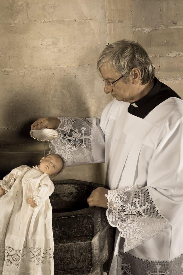 Bebê batizado no sepia fotografia de stock royalty free