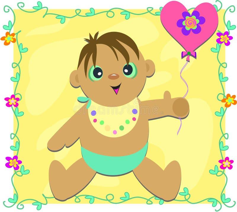 Bebê bonito com balão do coração ilustração royalty free