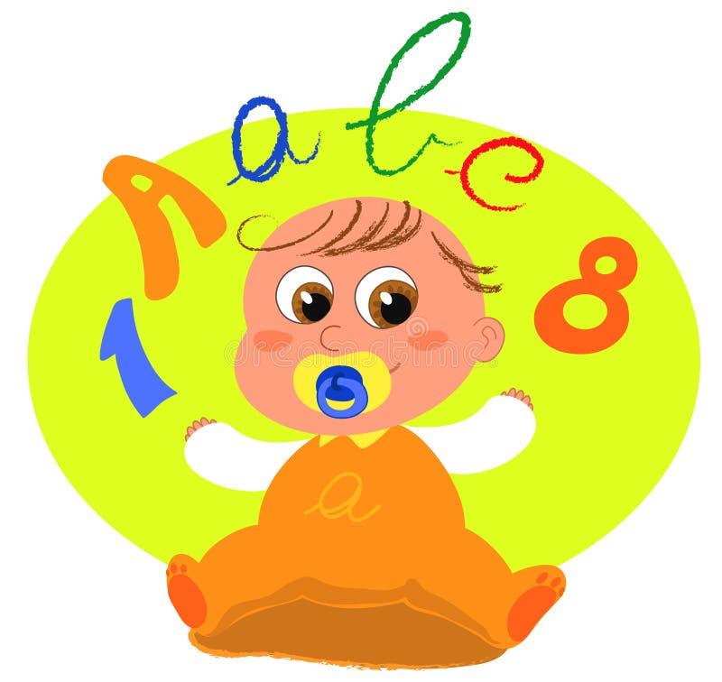 Bebê bonito com letras ilustração do vetor
