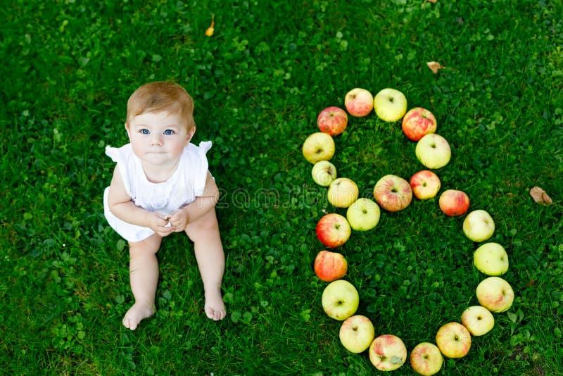 Bebê bonito com número 8 como oito meses feitos com maçãs maduras fotos de stock royalty free