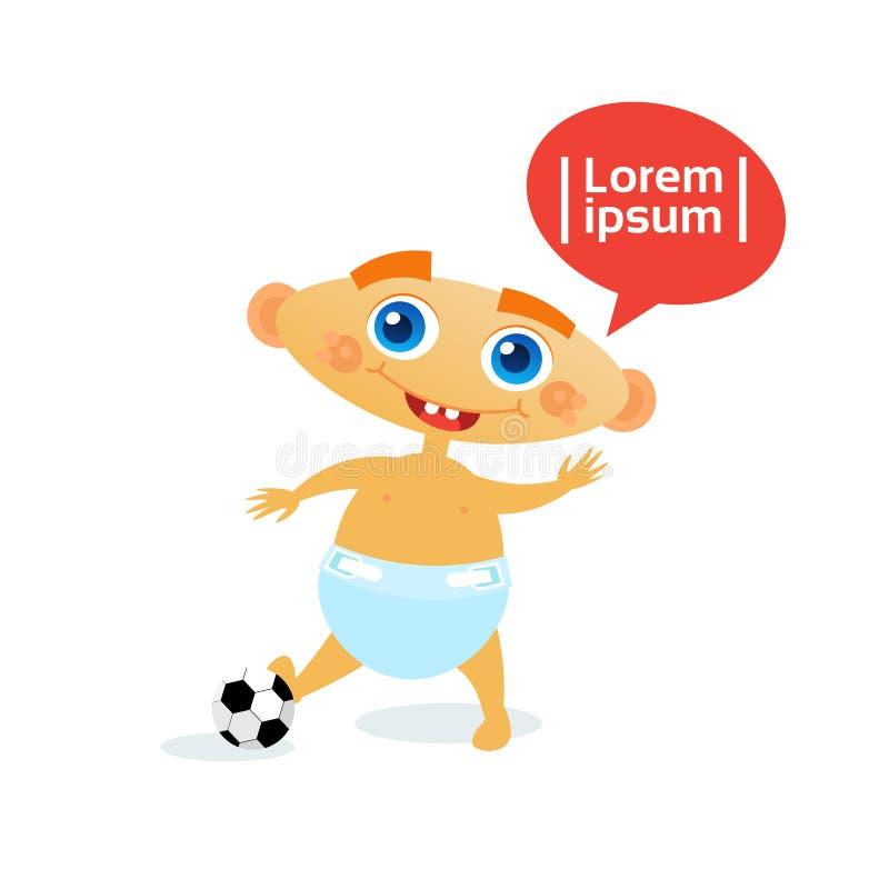 Bebê bonito com o infante feliz dos desenhos animados da criança da bola do futebol no tecido ilustração do vetor