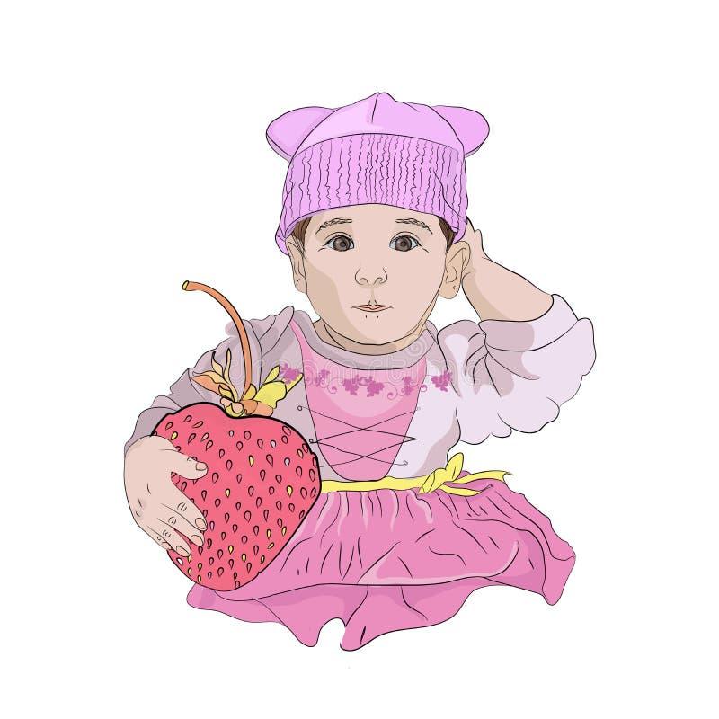 bebê bonito com uma morango gigante ilustração stock
