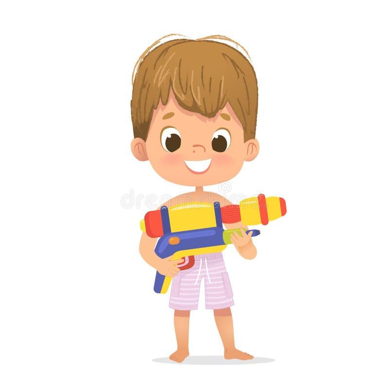 Bebê bonito de sorriso do cabelo de Brown com Toy Water Gun Posing Caráter da festa na piscina com um Toygun Caráter do menino da ilustração do vetor