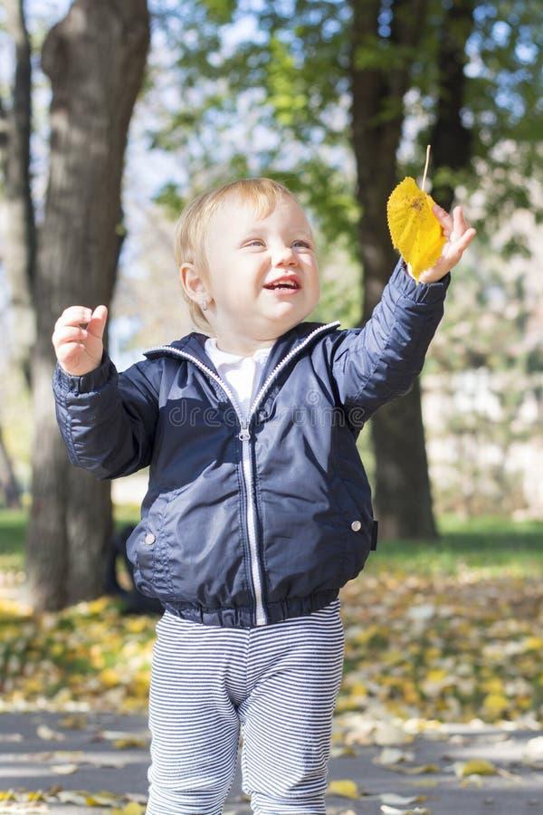 Bebê bonito do bebê de um ano que joga com uma folha em um parque fotografia de stock royalty free