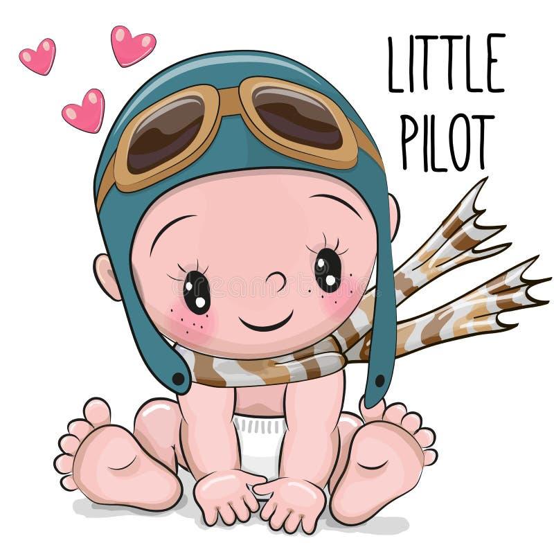 Bebê bonito dos desenhos animados em um chapéu piloto ilustração do vetor
