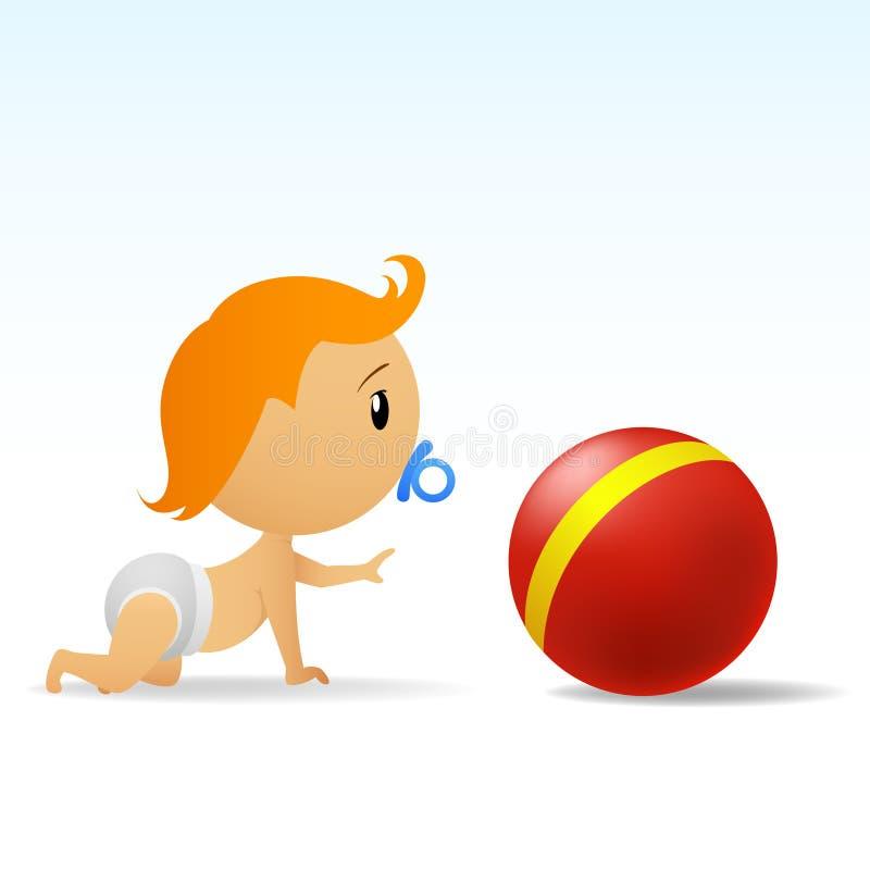 Bebê bonito dos desenhos animados que rasteja à esfera vermelha ilustração royalty free