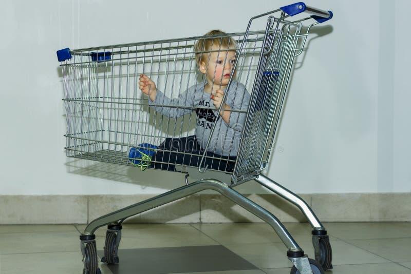 Bebê bonito e adorável no carrinho de compras - trole contra o fundo cinzento Conceito da compra imagens de stock royalty free