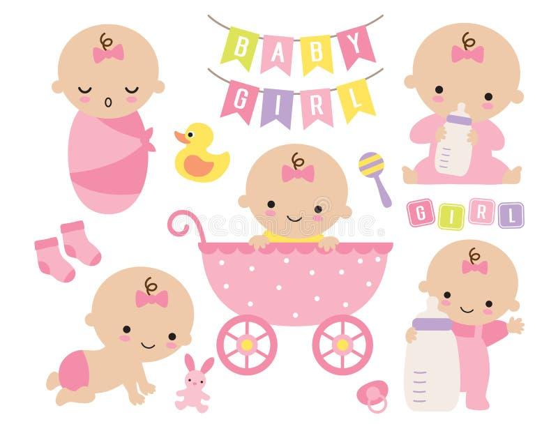 Bebê bonito em um carrinho de criança cor-de-rosa com artigos do bebê ilustração do vetor