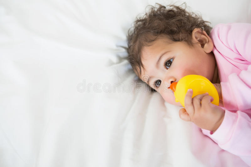 Bebê bonito que guarda o pato fotografia de stock royalty free