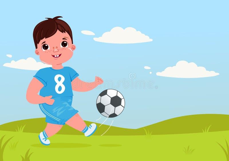 Bebê bonito que joga o futebol com uma bola de futebol Uniforme moderno da equipe do jogador atividades saudáveis ilustração royalty free