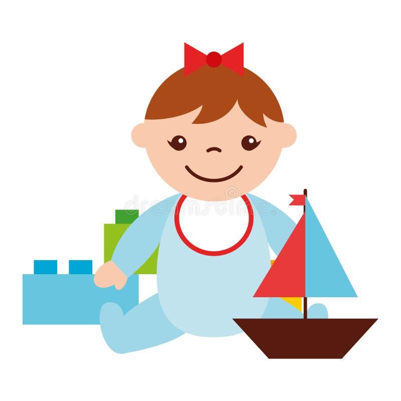 Bebê bonito que senta-se com blocos e barco ilustração do vetor