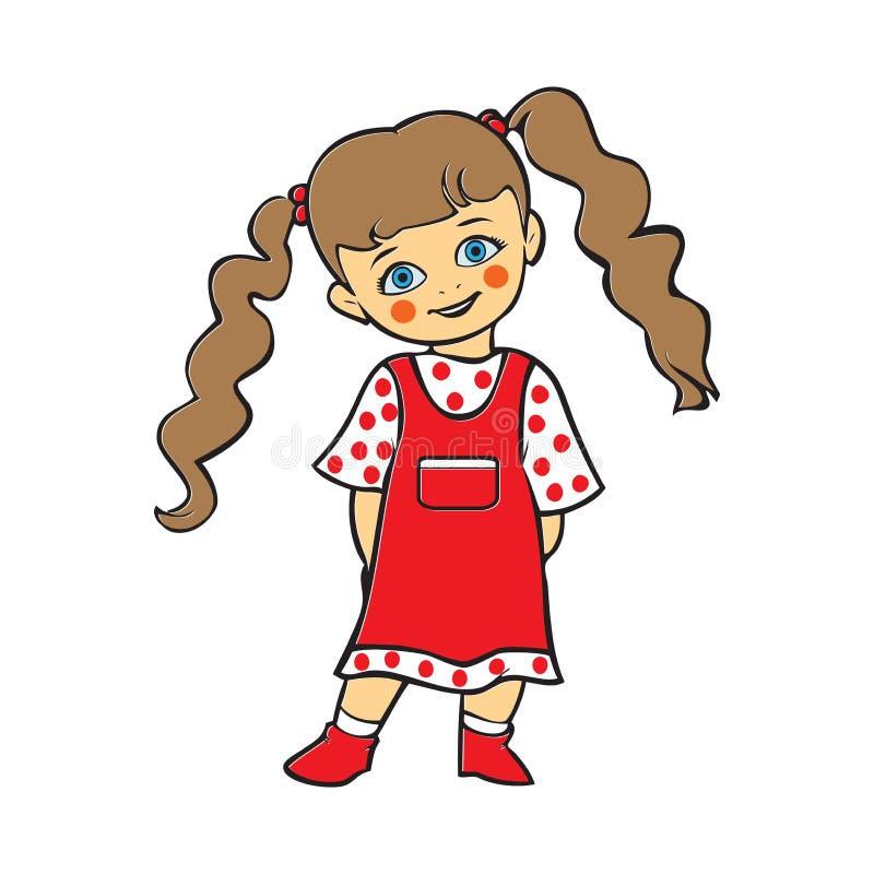 Bebê bonito que sorri, bebê bonito no vestido do às bolinhas, T-shi ilustração royalty free