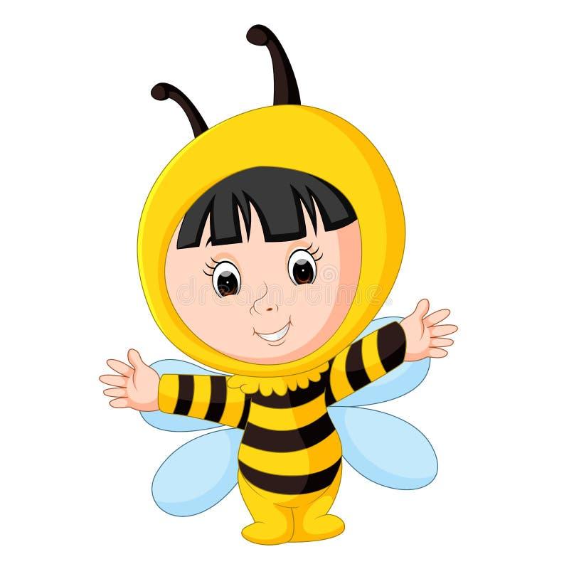 Bebê bonito que veste um terno da abelha ilustração stock