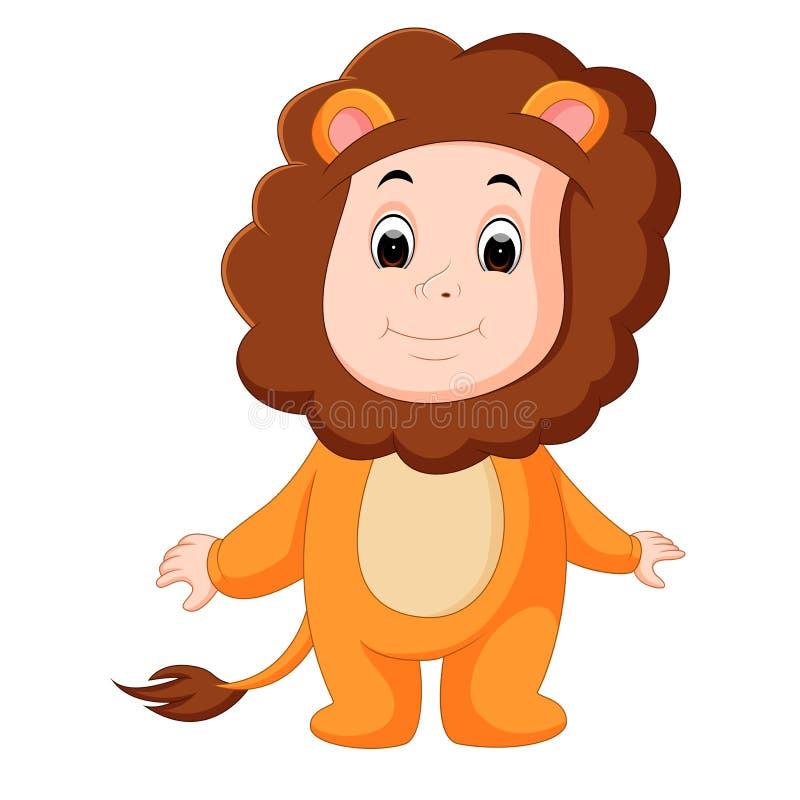 Bebê bonito que veste um terno do leão ilustração stock