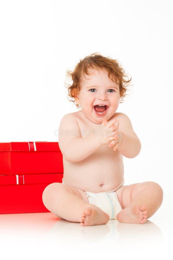 Bebê bonito Santa fotografia de stock