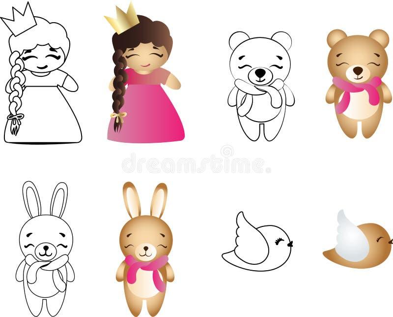 Bebê bonito, urso, coelho e pássaro do brinquedo dos desenhos animados ilustração stock