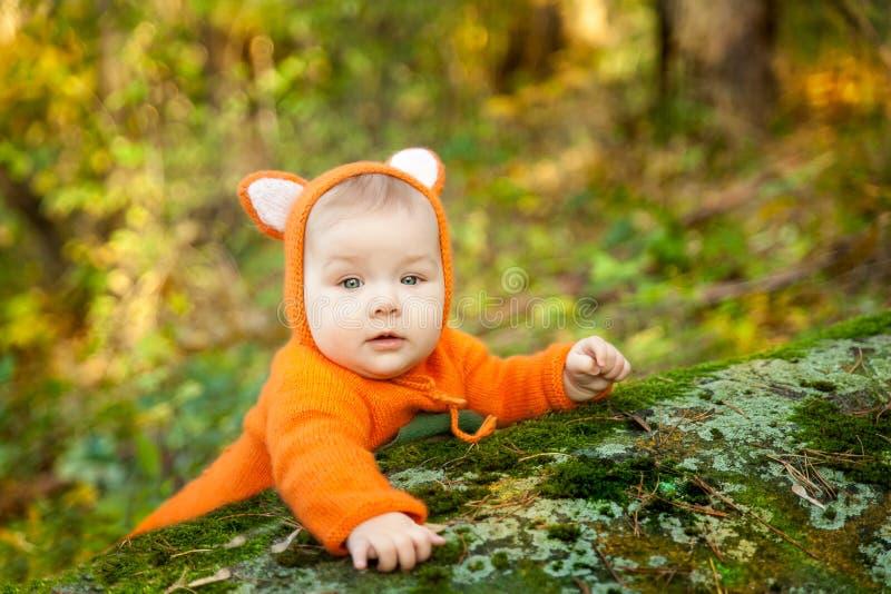 Bebê bonito vestido no traje da raposa fotos de stock royalty free