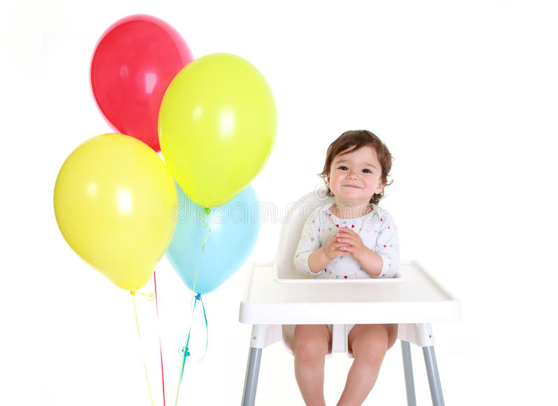 Bebê com balões imagem de stock