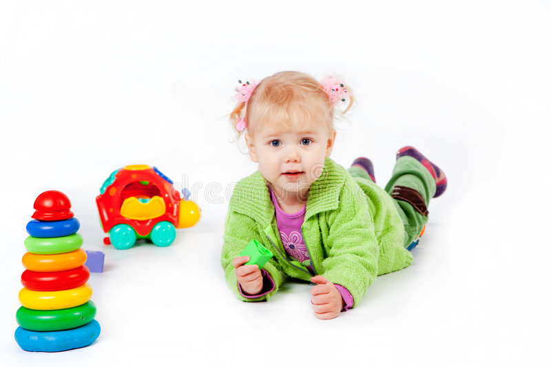 Bebê com brinquedos fotos de stock royalty free