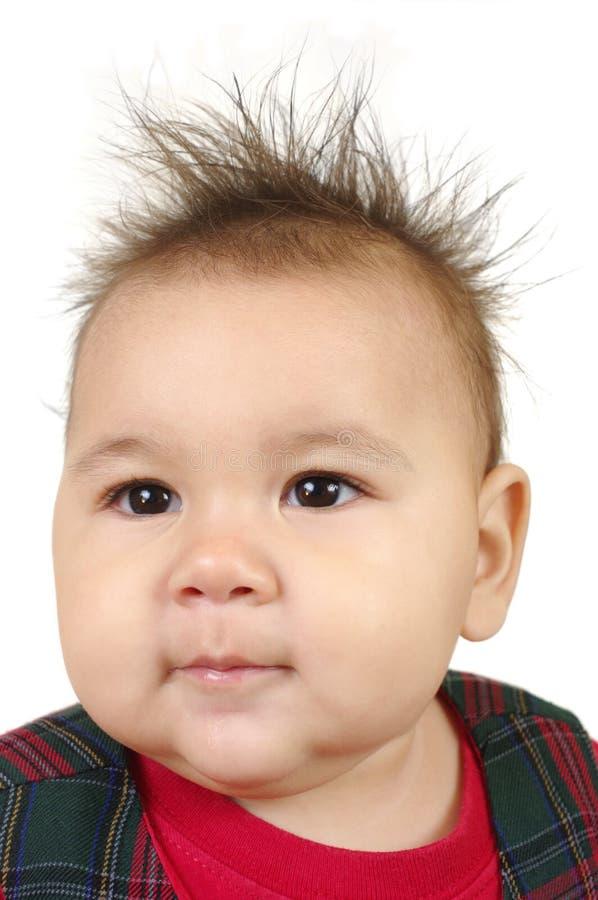 Bebê com cabelo spiky imagem de stock